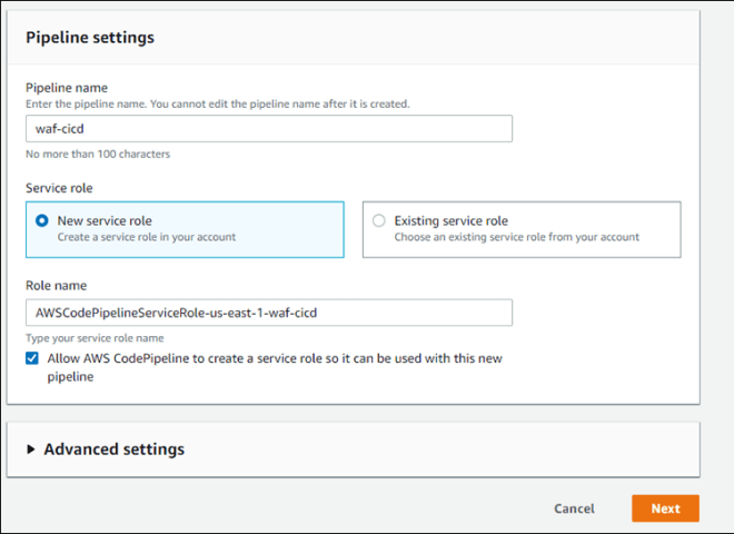 Figure 5: CodePipeline settings