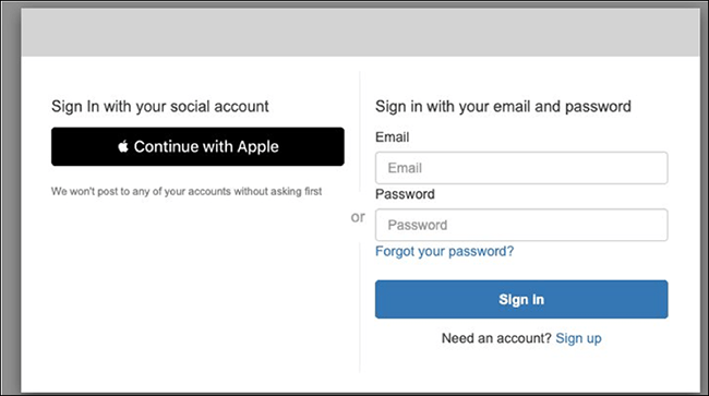 """Figure 3: """"Continue with Apple"""" button"""