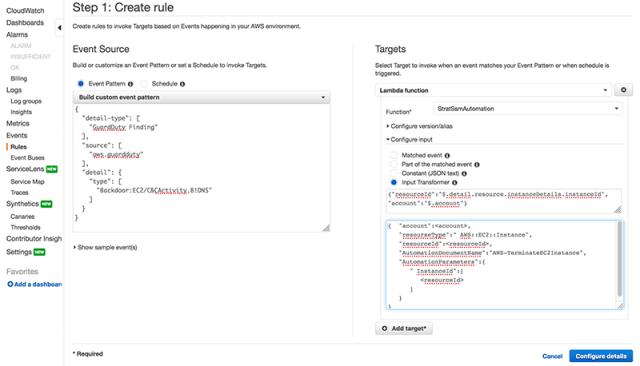 Figure 4: CloudWatch guideline creation