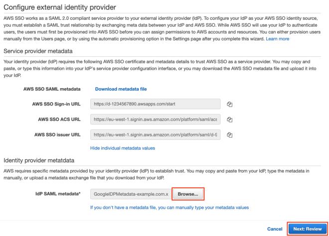 Figure 15: Upload IdP SAML metadata file