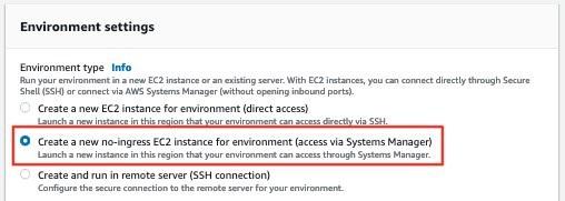 Figure 3: AWS Cloud9 environment settings