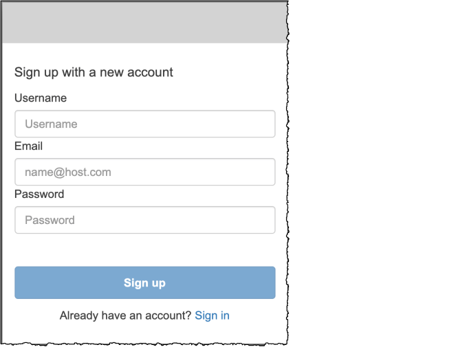 Figure 9: Sign up with a new account