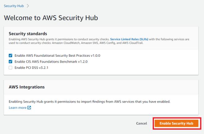 Figure 2: Enabling Security Hub