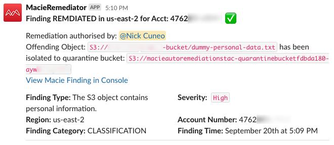 Figure 12: Slack notification of authorized remediation