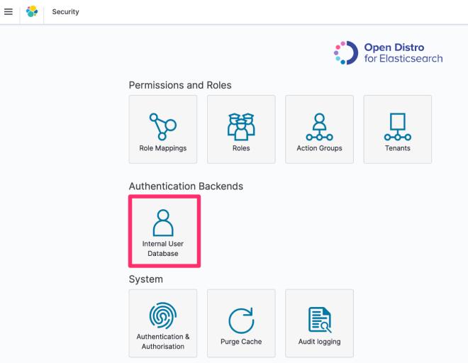 Figure 5: Select Internal User Database