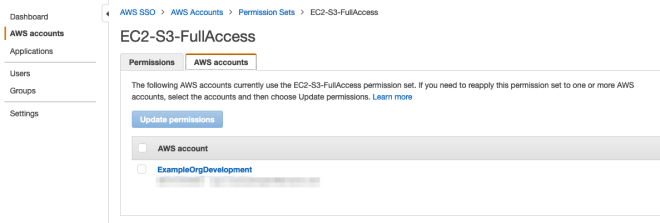 Figure 18: Review permission set account assignment in the AWS SSO console
