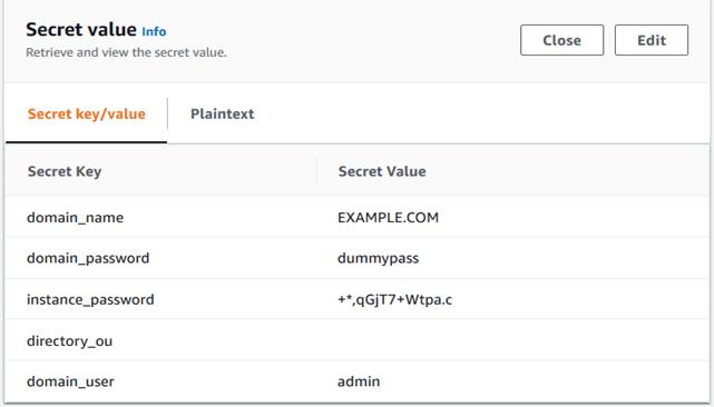 Figure 3: Retrieve value in Secrets Manager