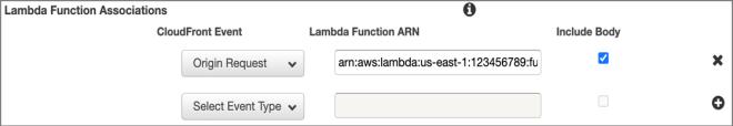 Figure 3: Configuration of Lambda@Edge in CloudFront