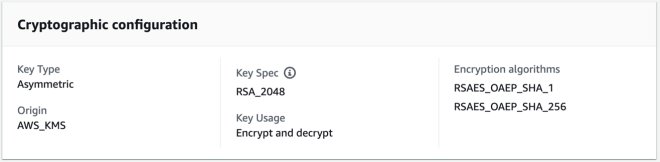 Figure 4: Cryptographic properties of an RSA key managed by AWS KMS