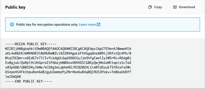 Figure 5: RSA public key available for copy or download in the console