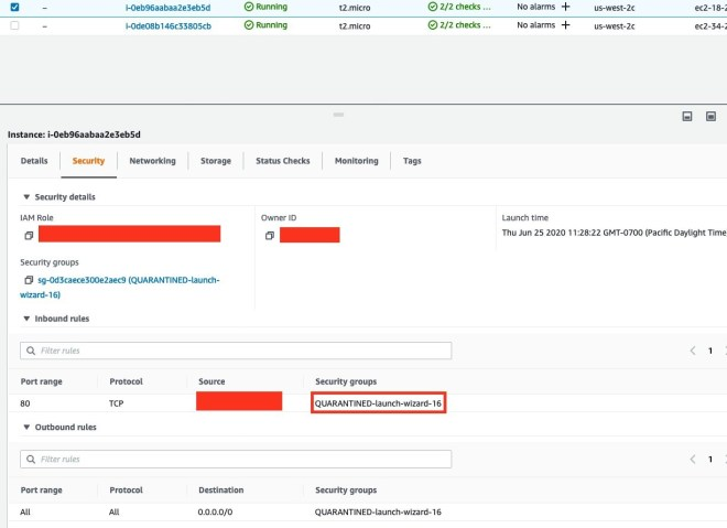 Figure 4: EC2 instance remediated with quarantined security group