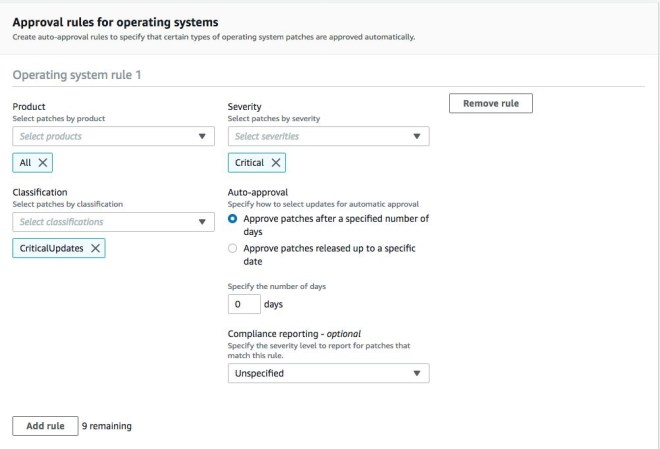 Figure 5: An example of the creation of a custom patch baseline for Systems Manager