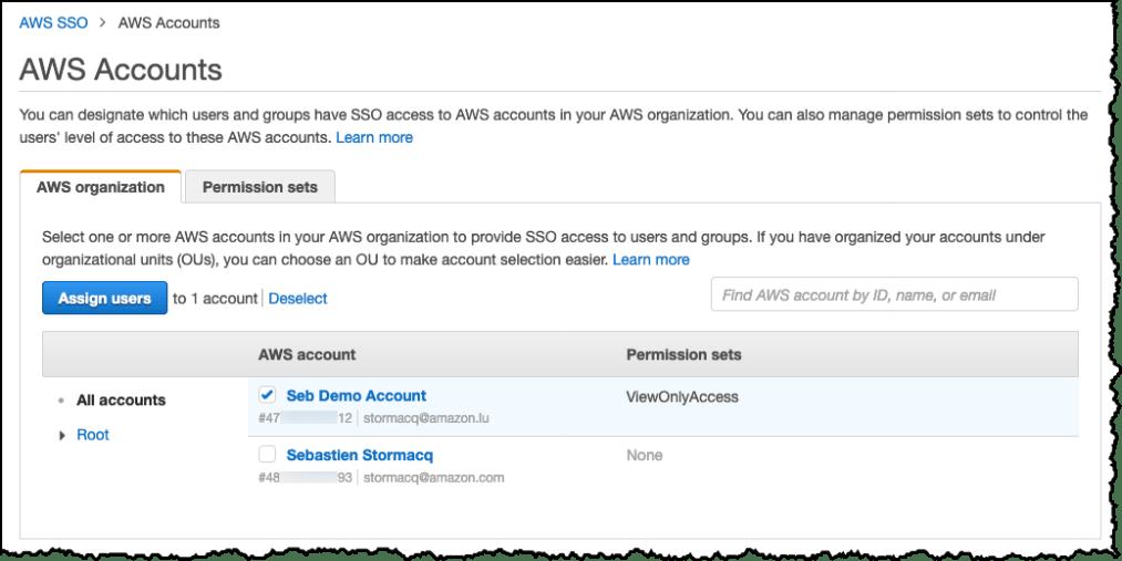 AWS SSO Select AWS Account