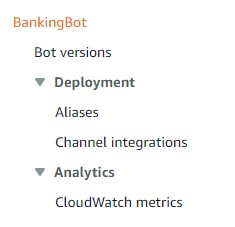 On the Amazon Lex V2 console, in the navigation pane, under your bot, choose Aliases.