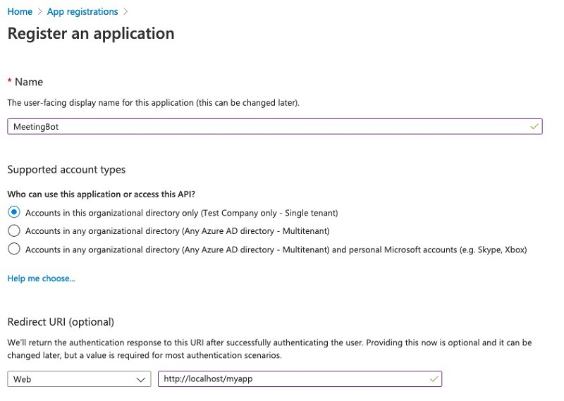 The redirect URL is required to make Microsoft Graph API calls.