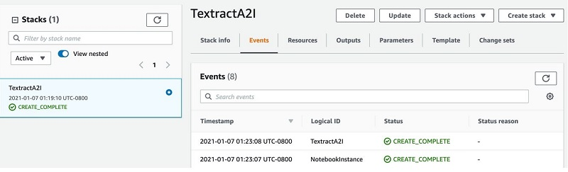 The following screenshot of the stack details page shows the status of the stack as CREATE_IN_PROGRESS