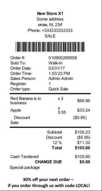 Sample store receipt image