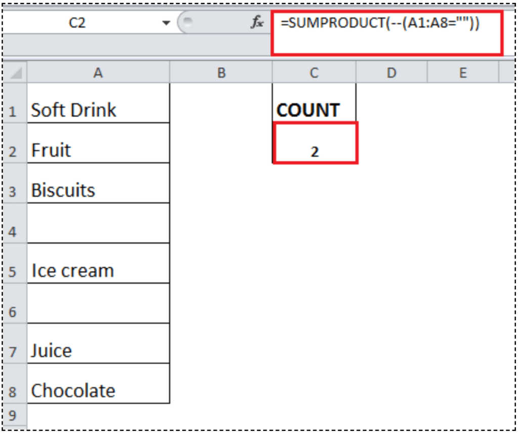 How To Count Blank Or Empty Cells In Excel