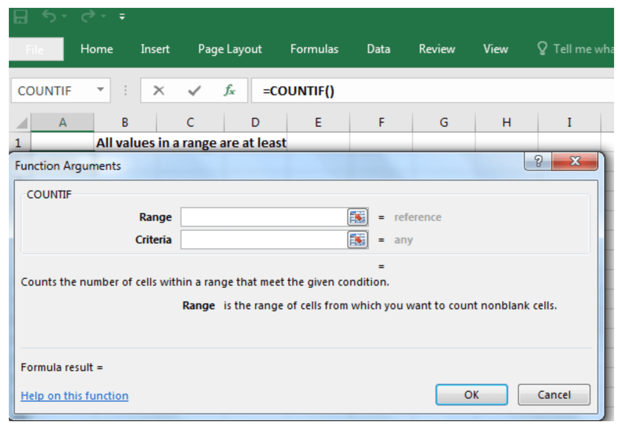 Excel Formula All Values In A Range Are At Least