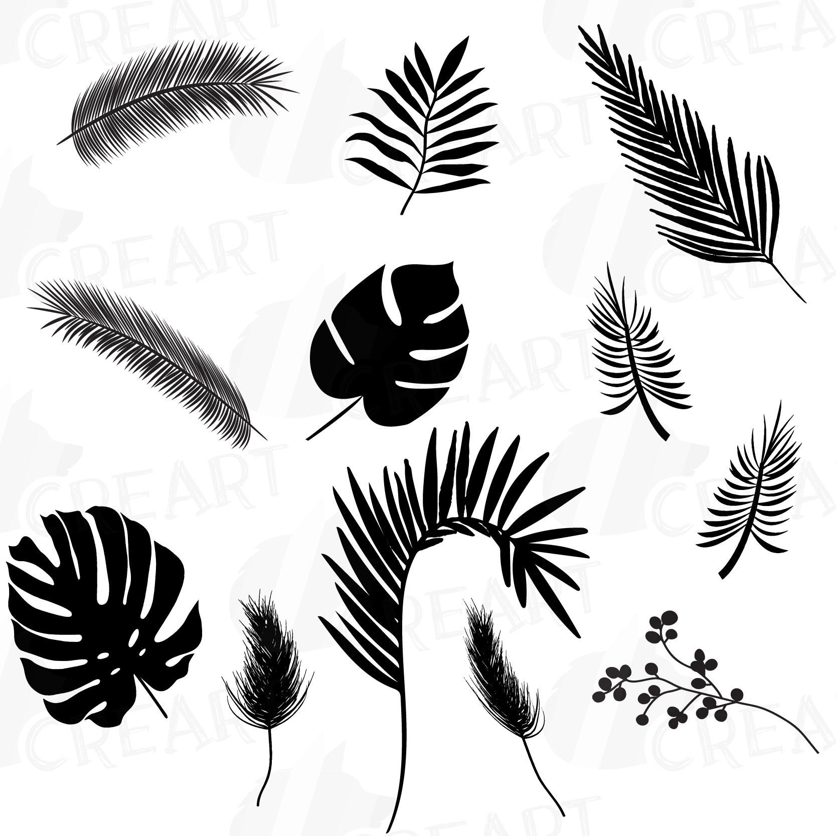 Tropical Leaf Silhouette Clip Art Pack