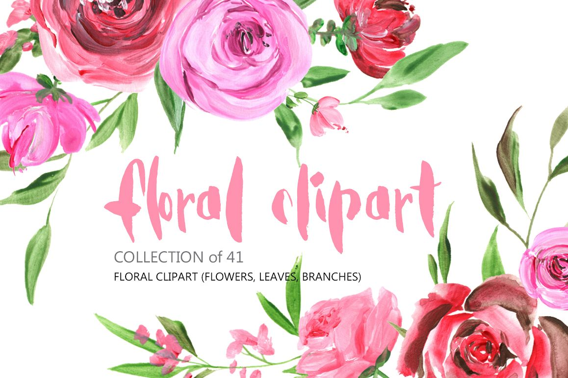 Acrylic Watercolor Flowers Png Set By W Design Bundles