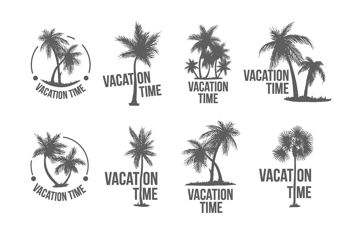 8 Tropical Palm Logo Illustration By Al