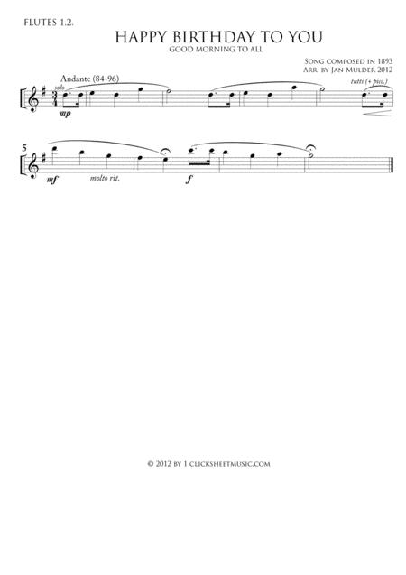 Happy Birthday By Traditional Digital Sheet Music For Flute 1 2 Part Download Print J2 6533 Sheet Music Plus