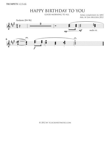 Happy Birthday By Traditional Digital Sheet Music For Trumpet 1 2 3 4 Part Download Print J2 6546 Sheet Music Plus