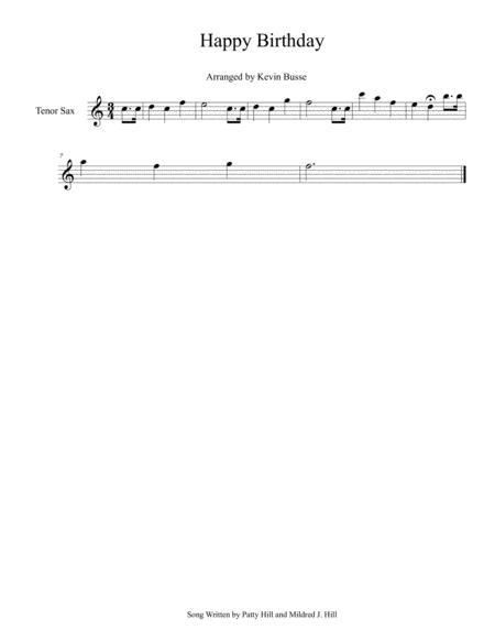 Happy Birthday Easy Key Of C Tenor Sax By Digital Sheet Music For Individual Part Sheet Music Single Download Print S0 274849 Sheet Music Plus