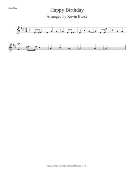 Happy Birthday Alto Sax By Digital Sheet Music For Individual Part Sheet Music Single Solo Part Download Print S0 354479 Sheet Music Plus