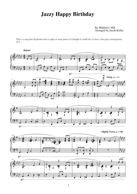 Jazzy Happy Birthday By Mildred J Hill Digital Sheet Music For Download Print S0 412055 Sheet Music Plus