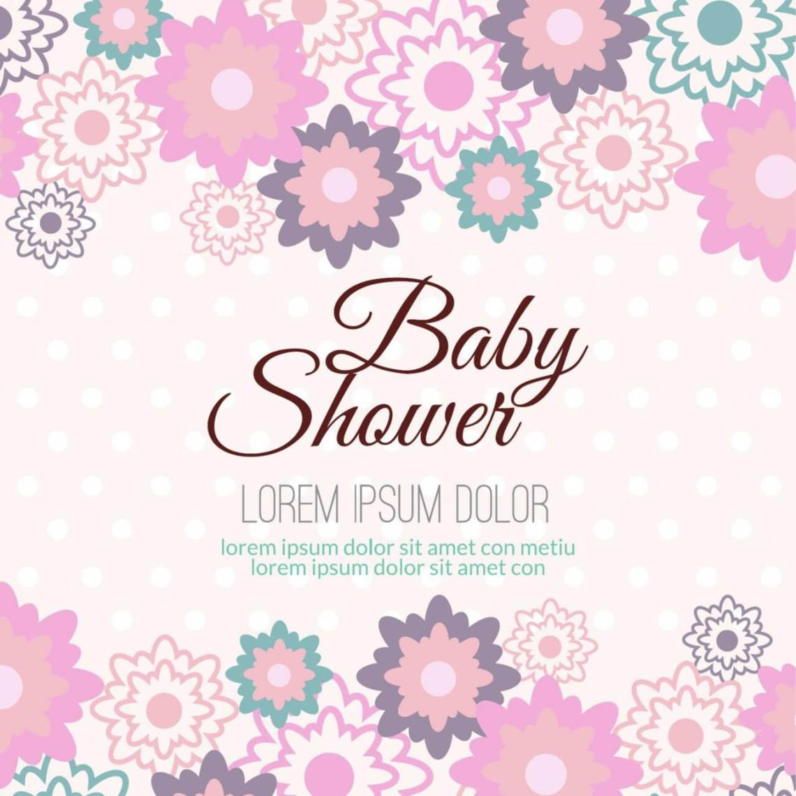 """Download Free vector """"Baby shower with floral background"""""""