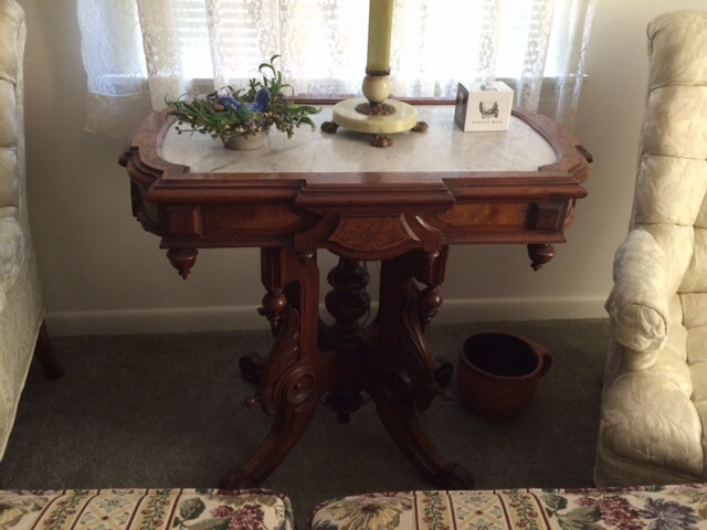 Marble Top Parlor Table And Slag Glass Lamp My Antique Furniture Collection
