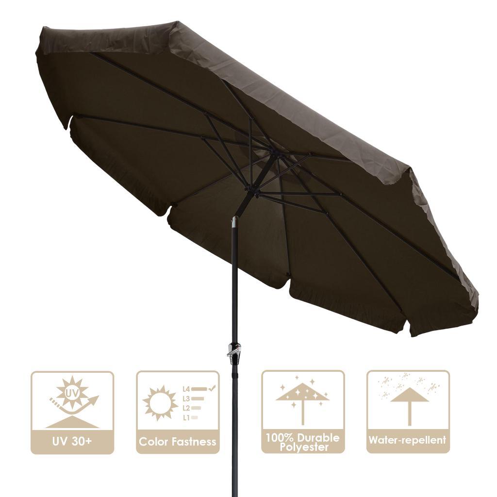 yescom 10 ft aluminum outdoor patio umbrella w valance crank tilt for deck market yard beach pool cafe chocolate