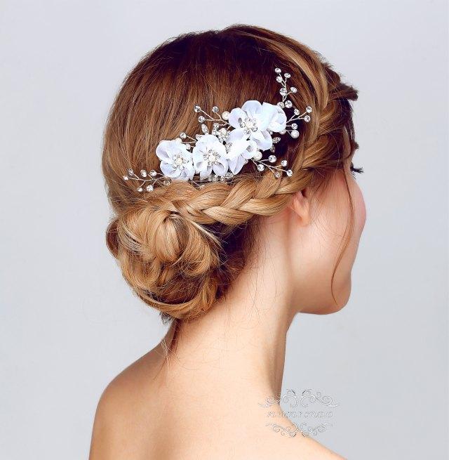 handmade pearl wedding hair accessories, bridal hair pins, formal hair pins, wedding hair piece, ivory pearl hair pins