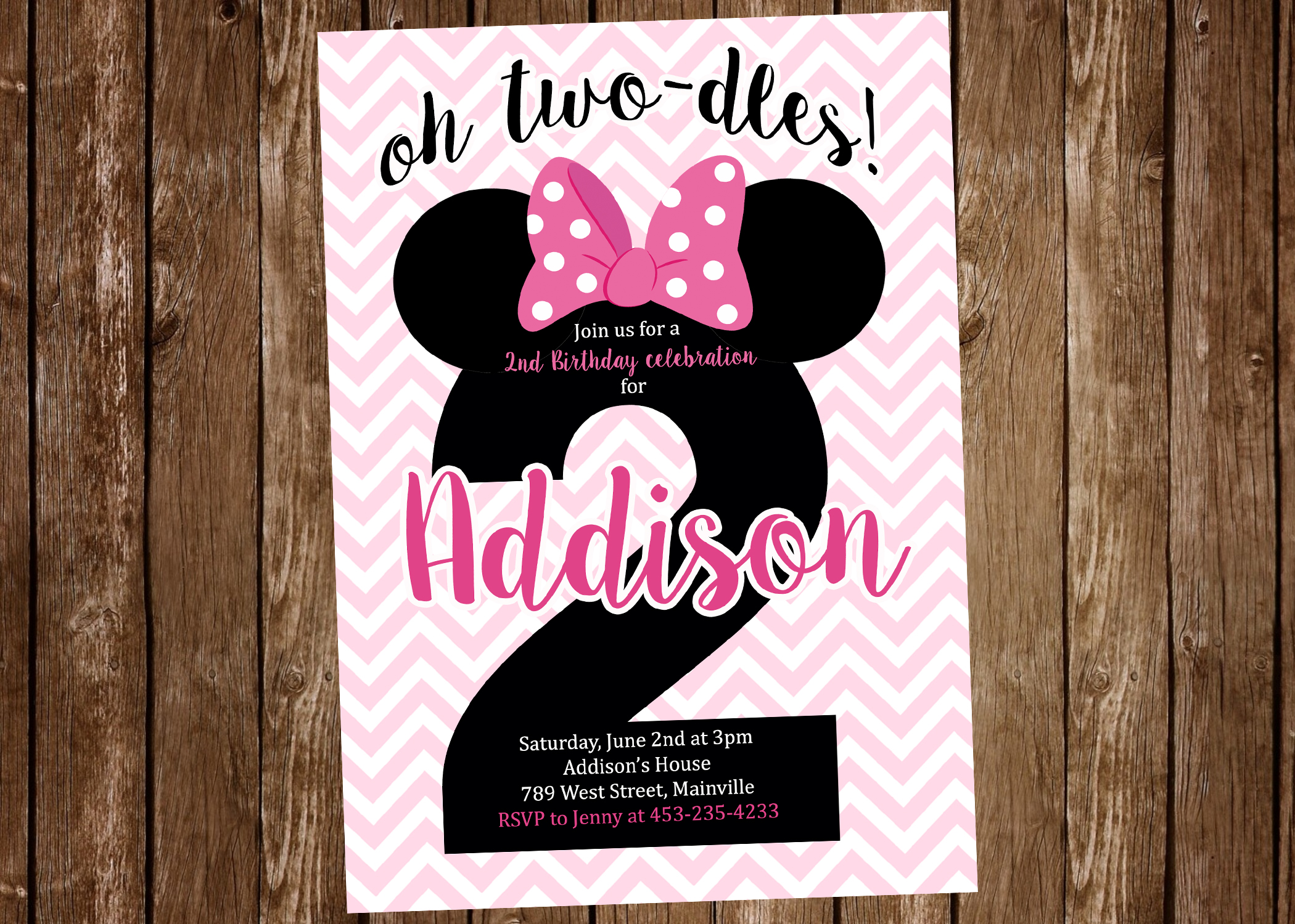 Minnie Mouse 2nd Birthday Two Odles Birthday Party Invitation Digital Or Printed Pretty Paper Pixels Online Store Powered By Storenvy