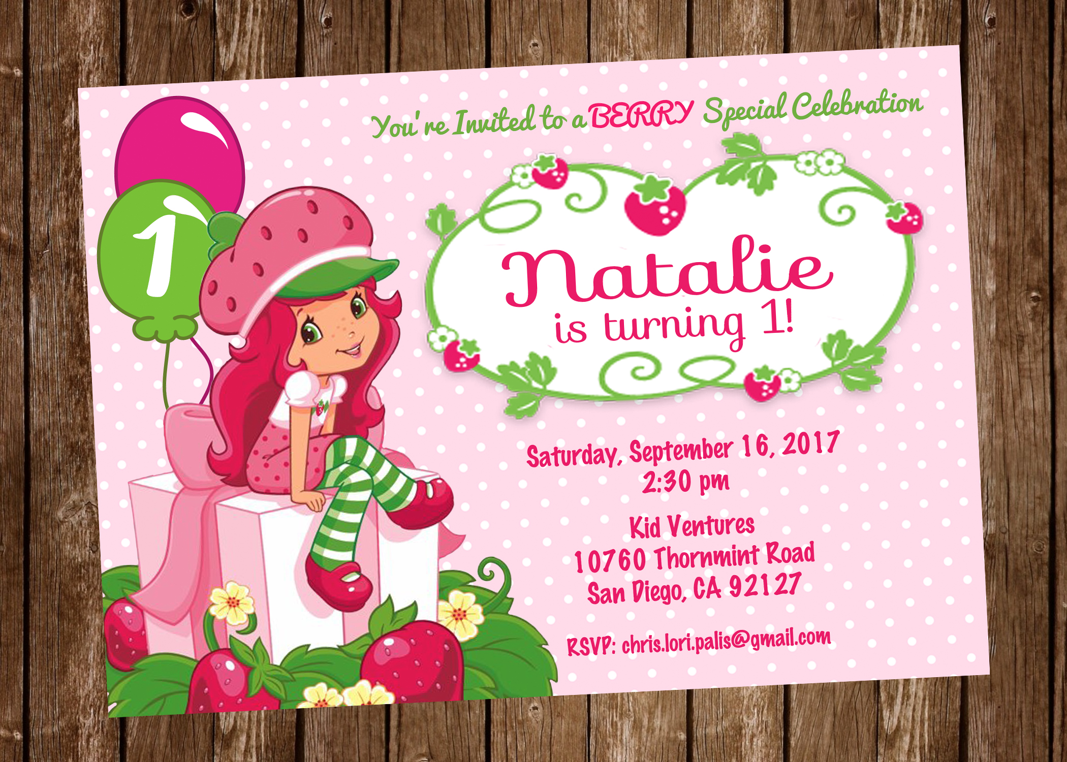 Strawberry Shortcake Birthday Party Invitation Digital Or Printed Sold By Pretty Paper Pixels On Storenvy