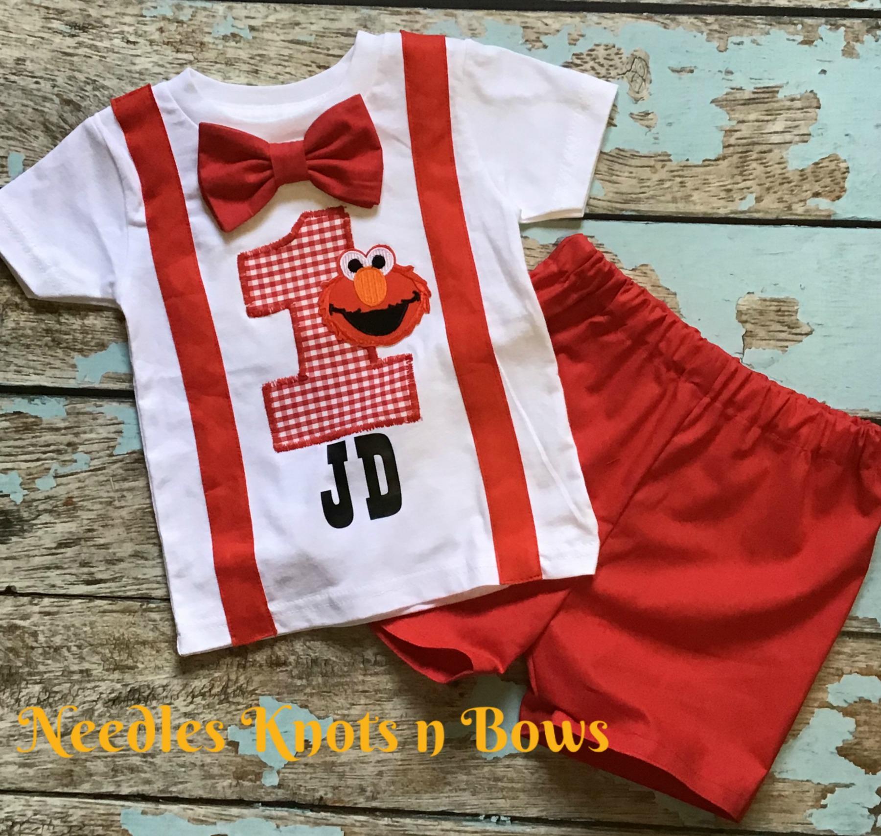 Boys Elmo Birthday Outfit Baby Boys Elmo 1st Birthday Outfit Elmo Birthday Sesame Street Birthday Cake Smash Elmo Birthday Tshirt Shorts Sold By Needles Knots N Bows On Storenvy