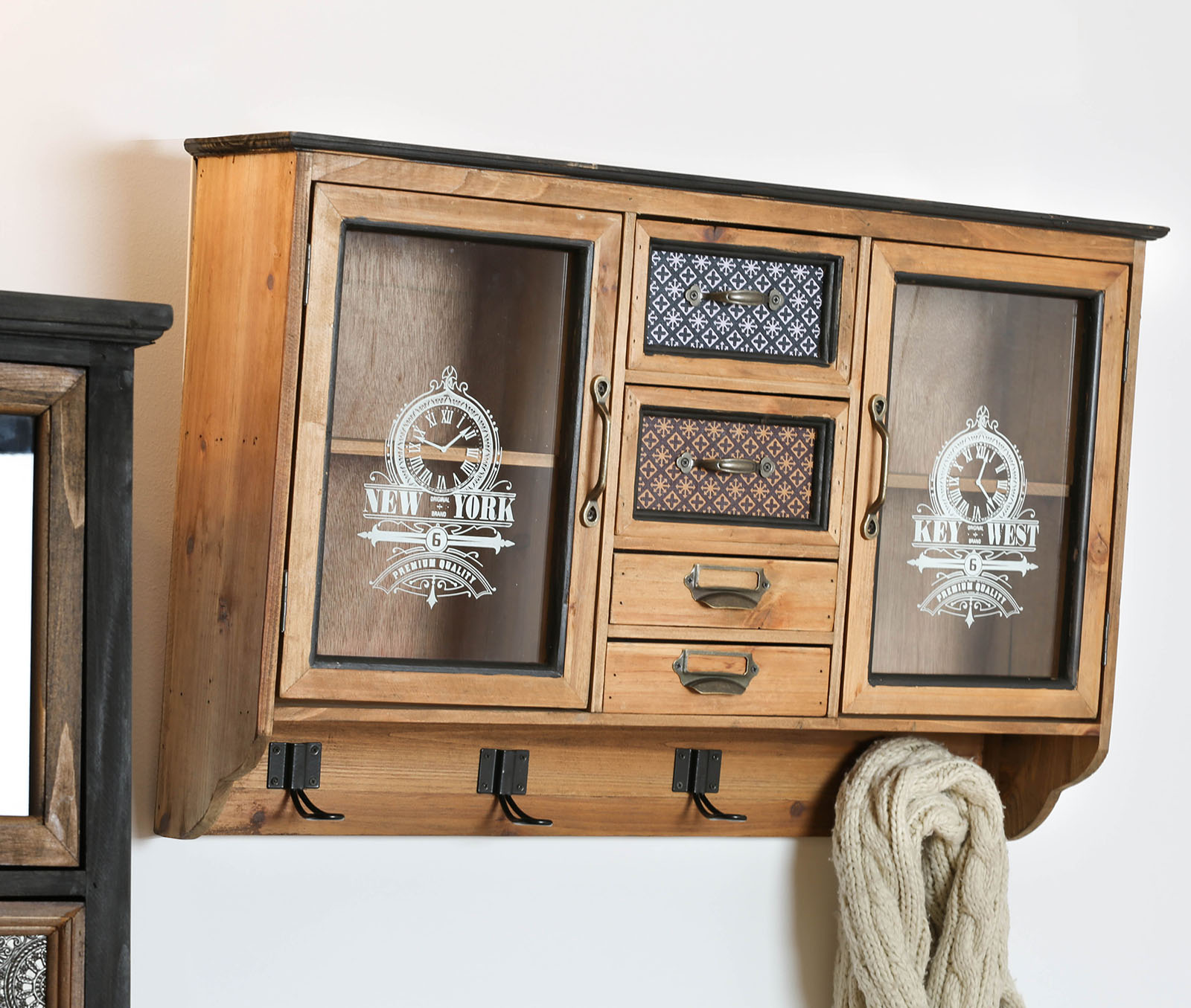 armoire murale vintage 4 tiroirs 2 portes lamphun