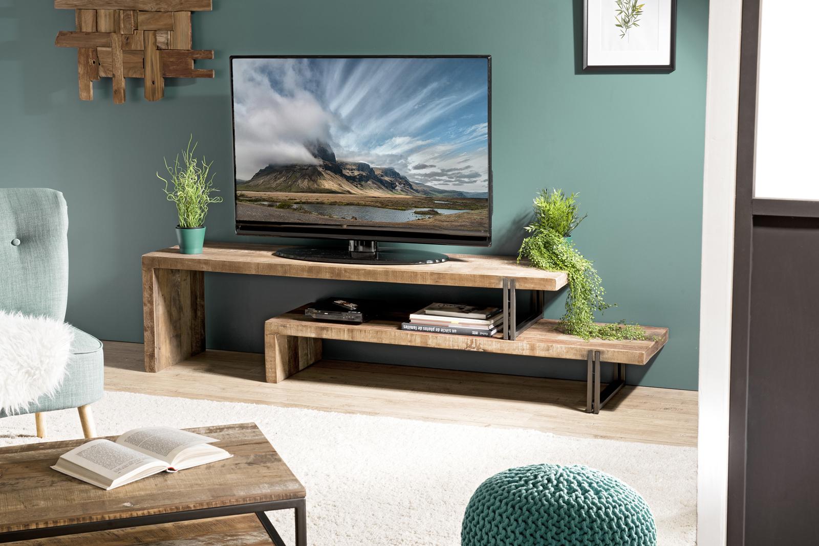 Banc Tv Bois Recycle 2 Niveaux Swing Meubles Tv Pier Import