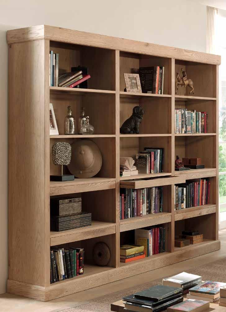 bibliotheque classique chic chene massif 240x50x200cm romus