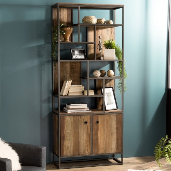 bibliotheque etagere teck recycle 2 portes swing
