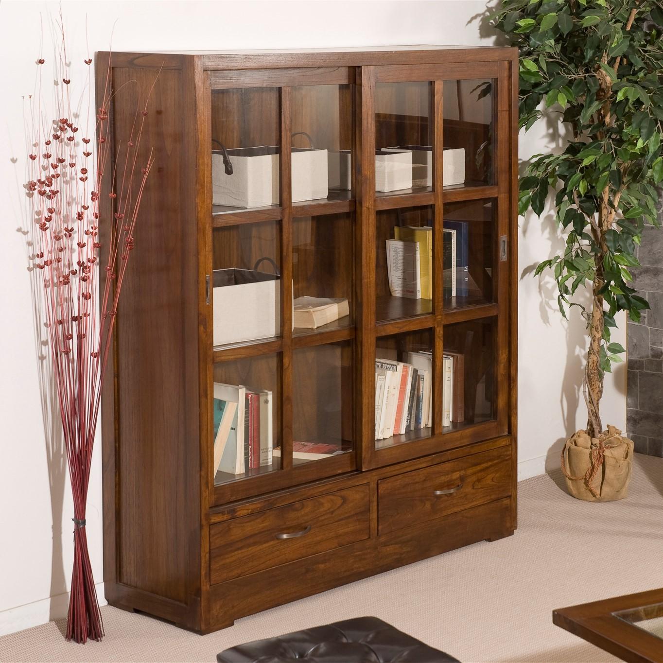 bibliotheque portes vitrees coulissantes acajou 120cm lola