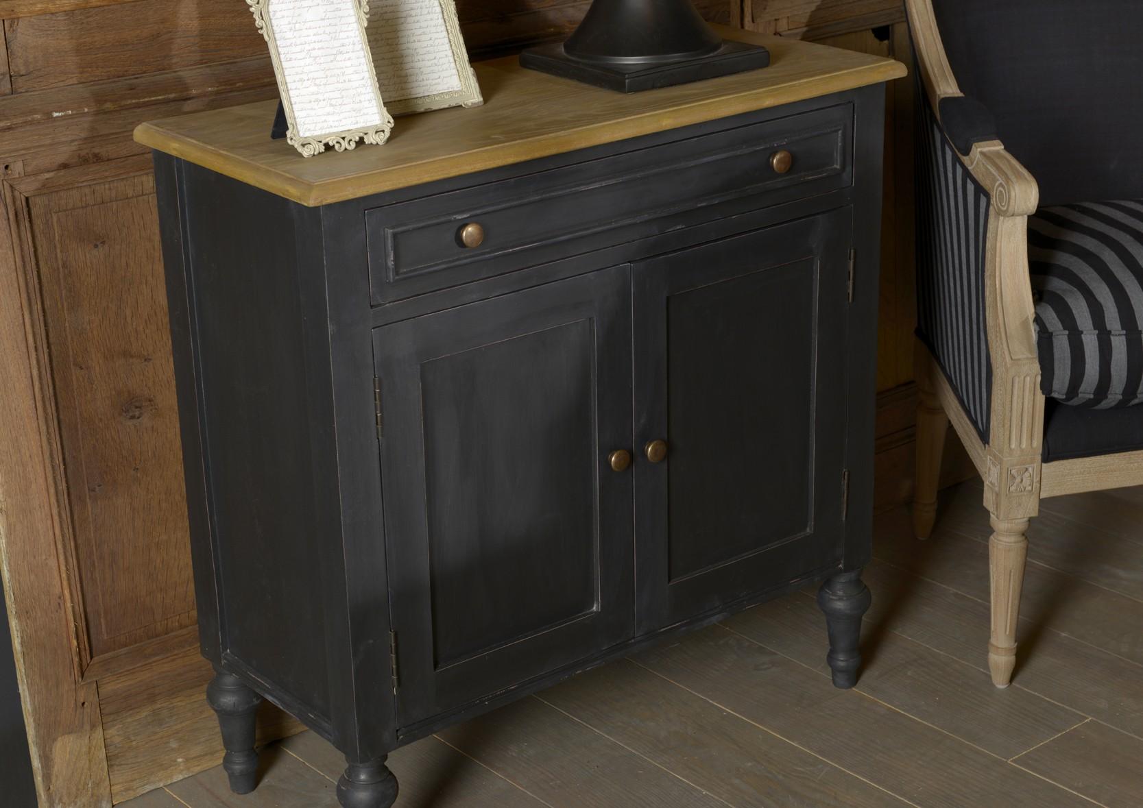 buffet 2 portes noir style parisien en bois ancien new legende l80xp35xh80 amadeus
