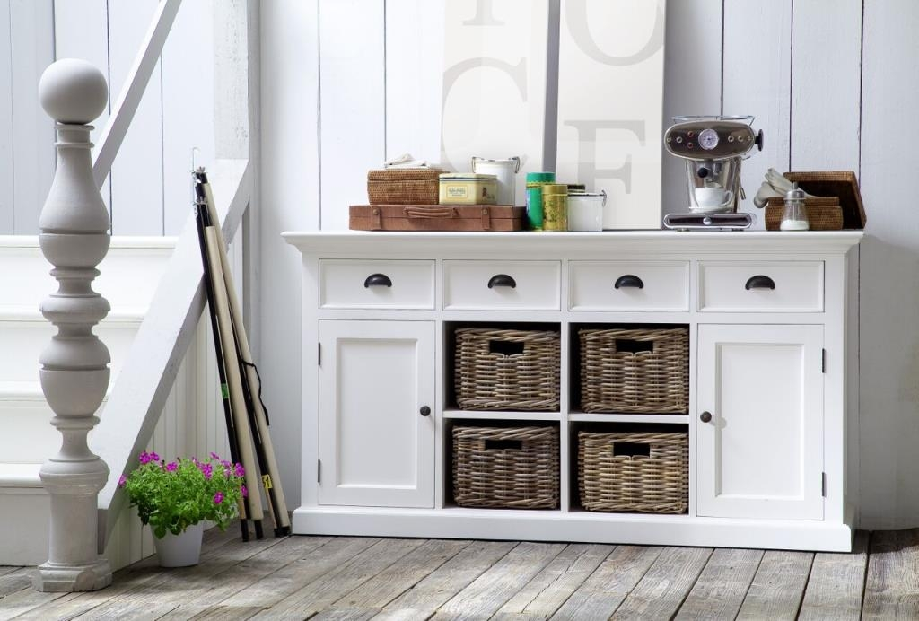 buffet en bois blanc 4 tiroirs 4 portes acajou et 4 paniers en rotin 160x50cm royan