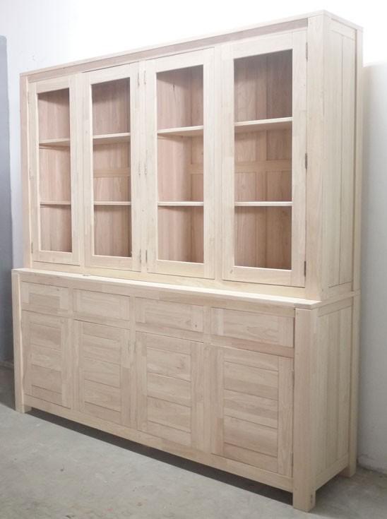 buffet vaisselier vitre bois moderne attan 200cm