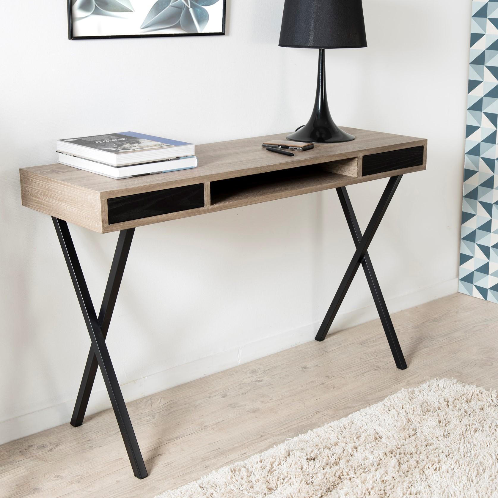 bureau console retro bois 2 tiroirs et pieds croises metal noir 120x40x78cm landaise