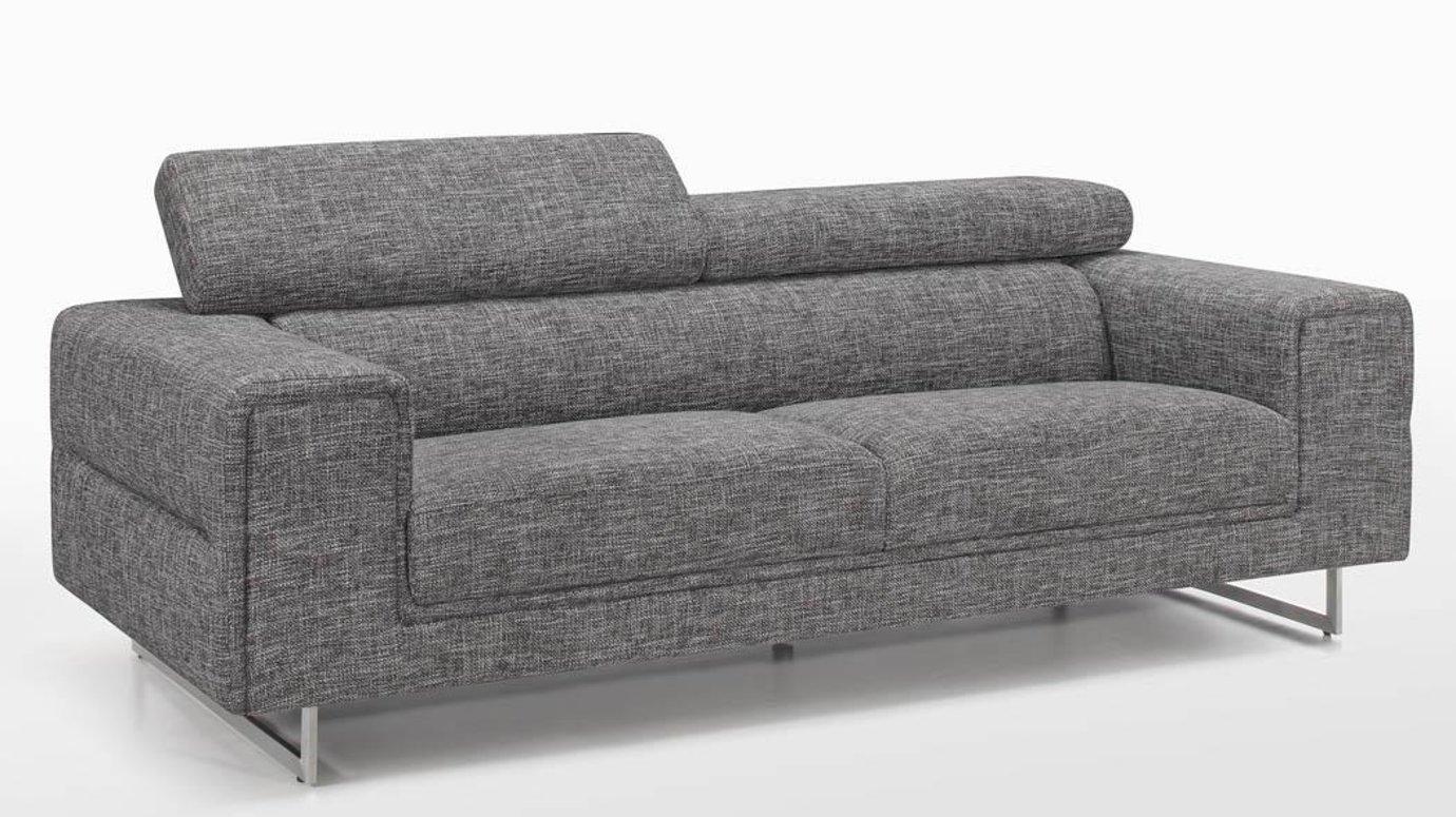canape tapissier 3 places tissu gris chine et pieds acier chrome 223 5x99 5x83 5cm street