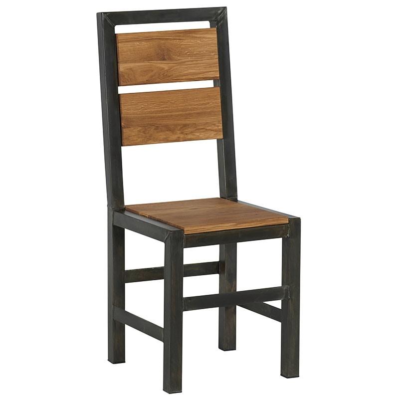chaise salle a manger bois de chene metal ferscott