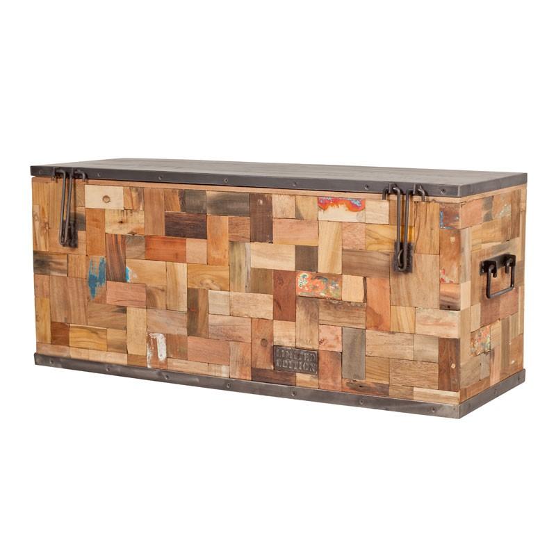 coffre de rangement bois recycle 100x35 caravelle